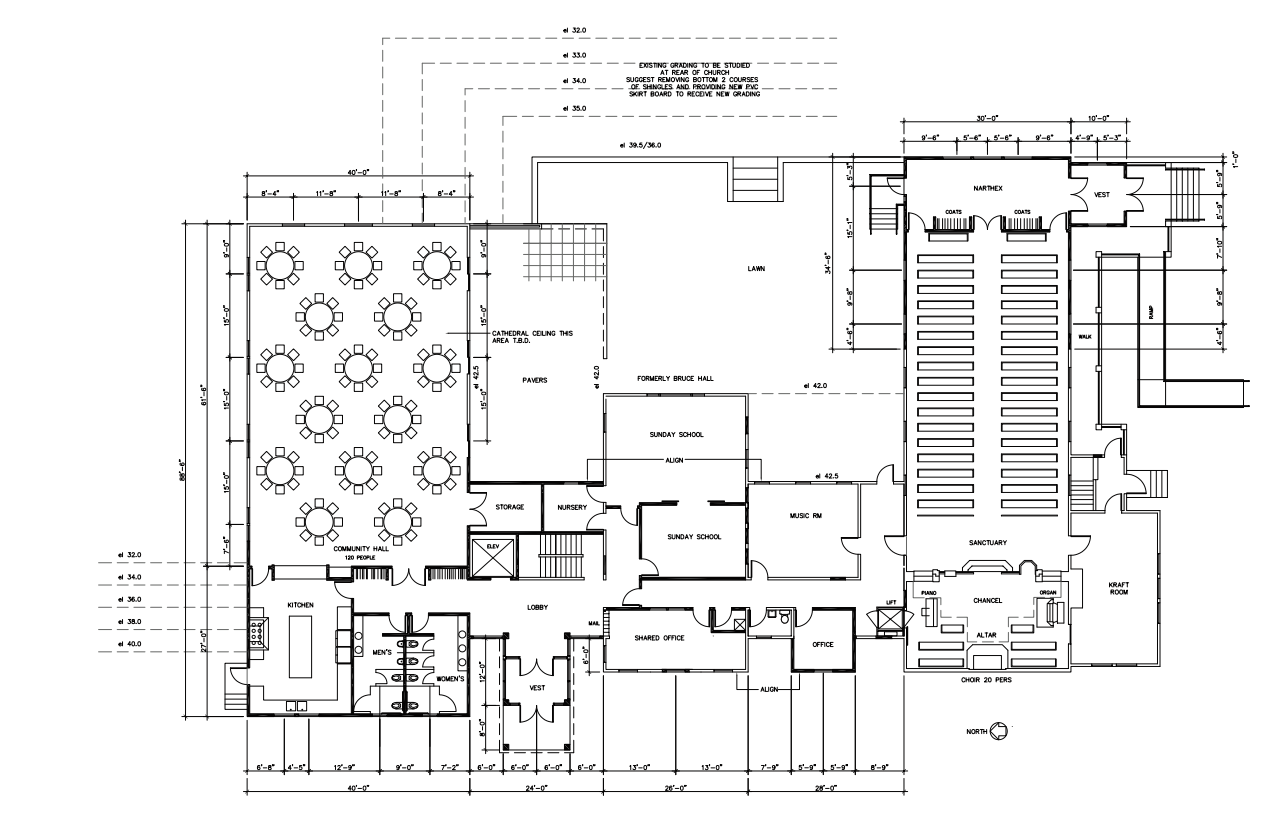 Architect's drawing of church expansion floor plan